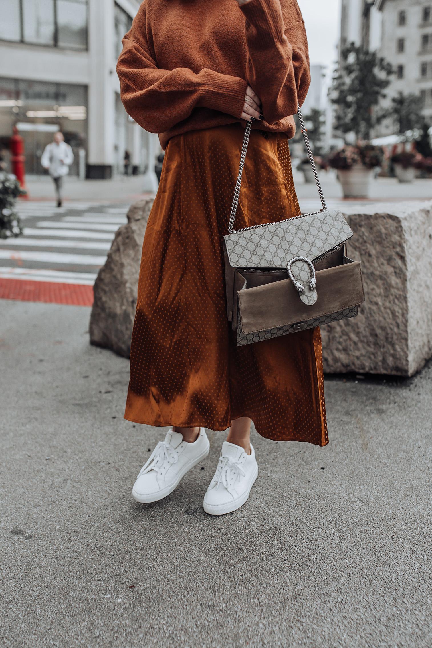 Fall tones   Midi Dress   Mock Neck Sweater   Gucci Bag   Glasses #streetstyle #ootd #liketkit #gucci