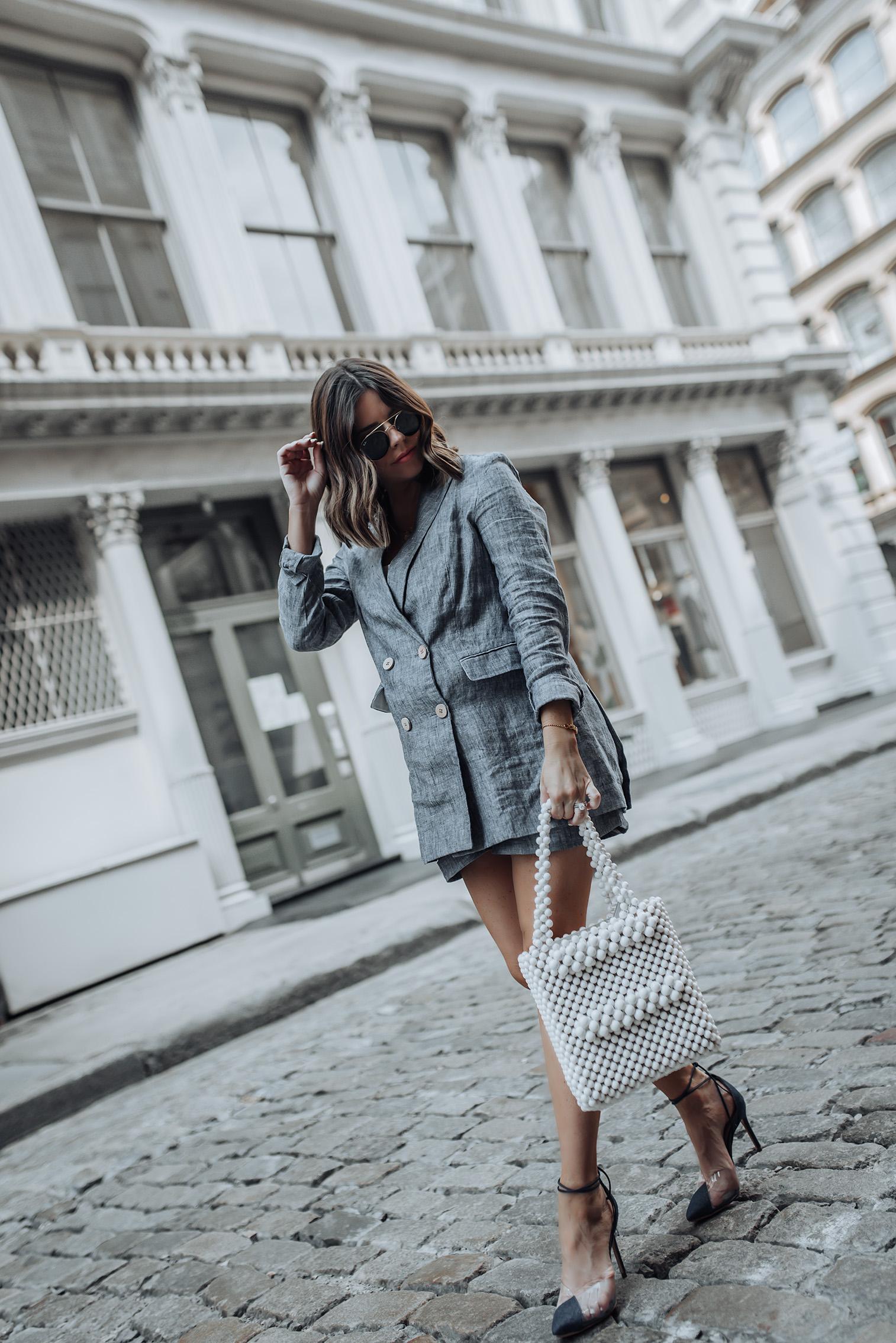 NYFW Day 1 |Mango Linen Blazer and Shorts (sold out) similar here & here | Schutz Shoes | Beaded Handbag #streetstyle #liketkit #beaded handbag #shrimpsbag