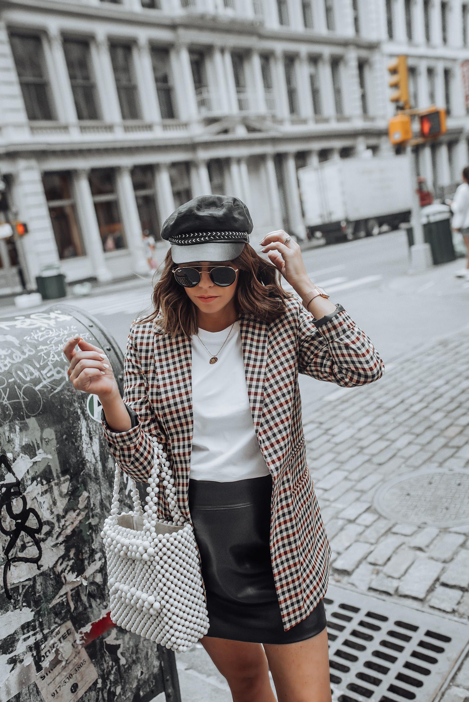 NYFW Check print |Check Blazer | H&M Skirt | Beaded Handbag | Lo Fi Sneaker #streetstyle #ootd #asos #checkprint