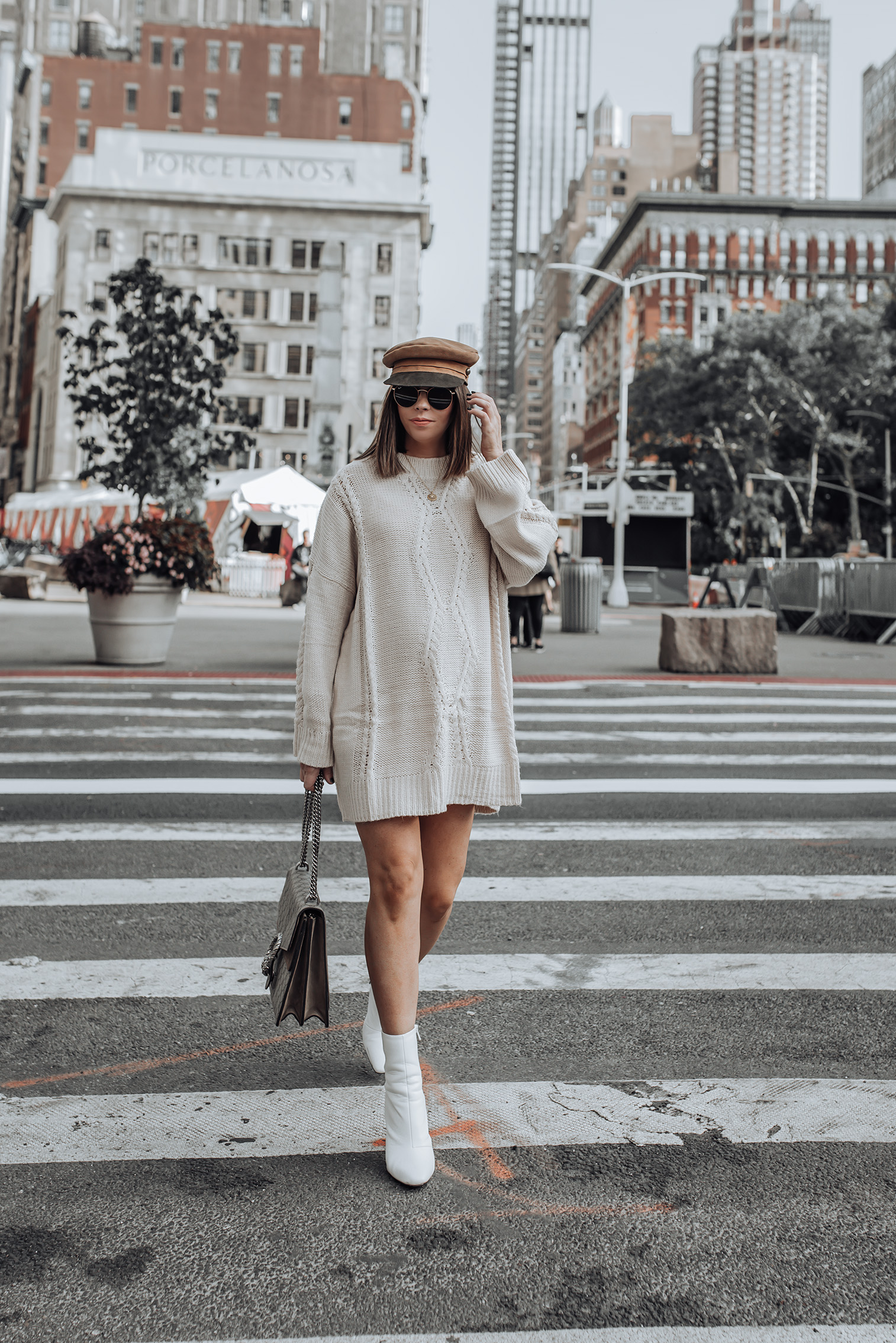 Sweater dress weather |Large Cable Knit Jumper | Lola Cap in Light Brown | White Slim Heel Boots #liketkit #streetstyle #minimalist