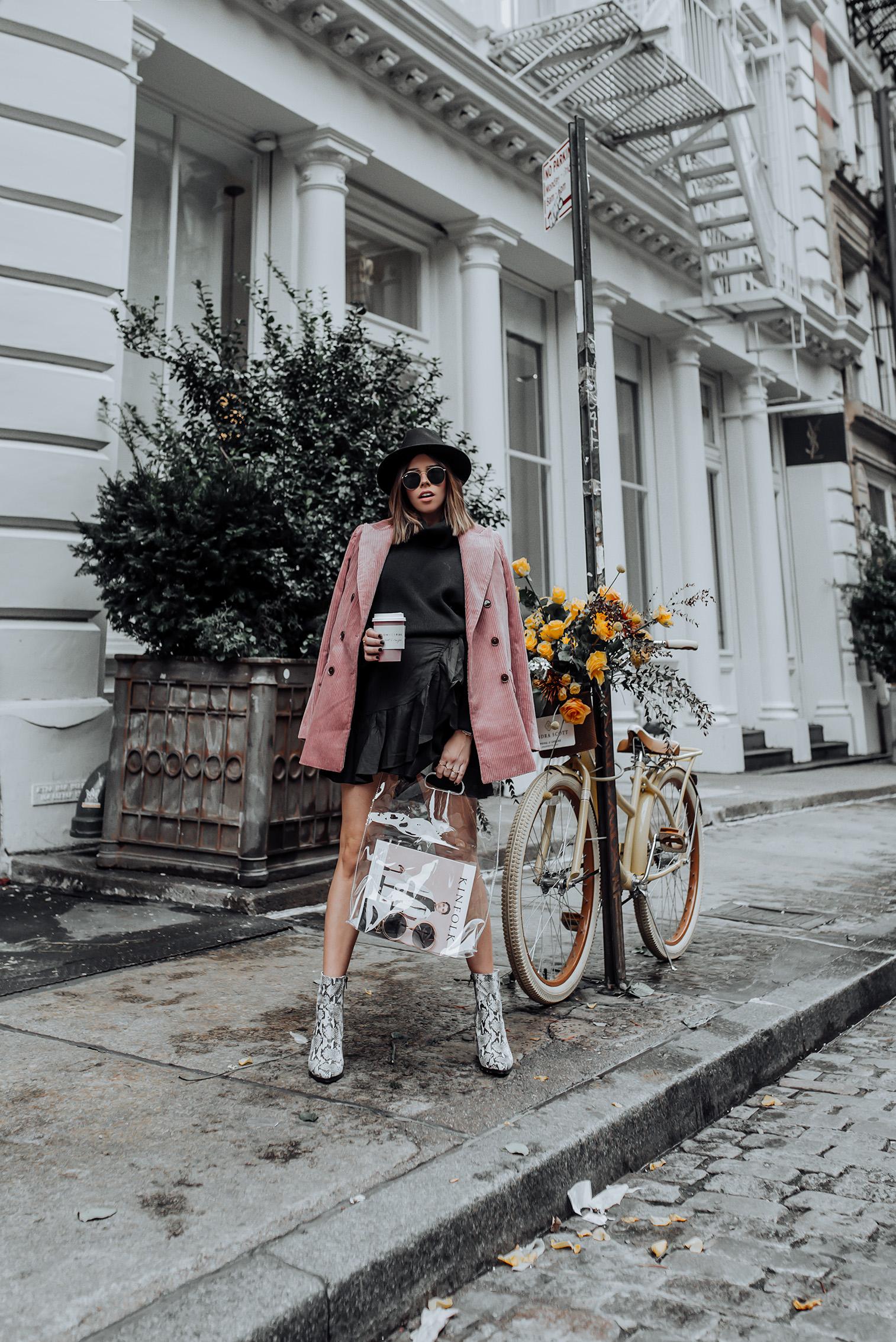 Corduroy Blazer via Mango   Ruffle Wrap Skirt   Tony Bianco Brazen Bootie   #Streetstyle #pinkblazer