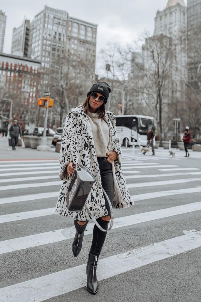 Snow Leopard Faux Fur Coat   Skinny Jeans   Bag (similar)   Sweater  Boots via ASOS