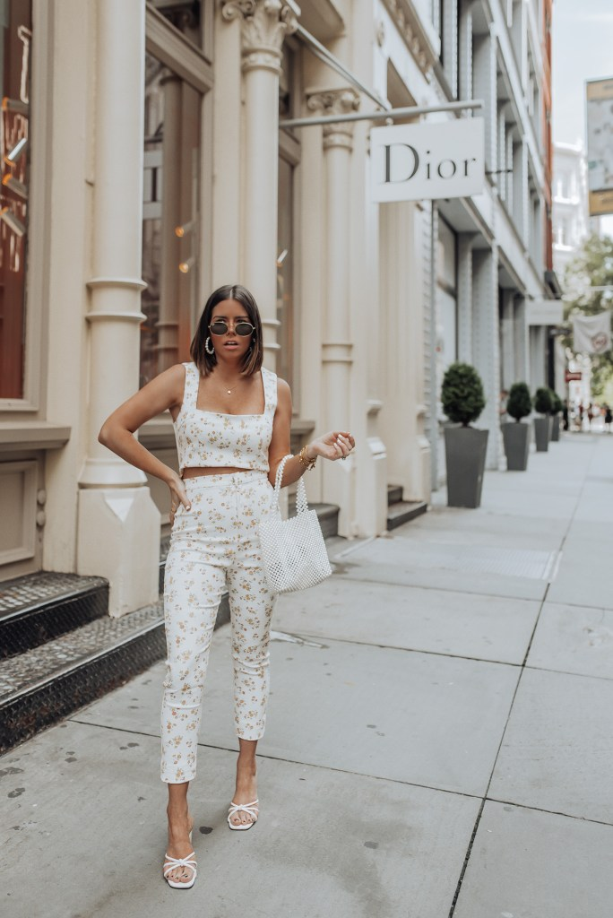 Floral Matching Set via Verge Girl   Heels via Verge Girl   Beaded Pearl Bag  Pearl Earrings  Happy hump day babes! Sharing this really cute two piece set from Verge Girl that I'm completely obsessed with! Verge Girl has been killing it lately, I literally want everything on their website right now. So consider your wallets warned! #streetstyleblog#tumblr #fashion #style #love #instafashion #ootd #girly #model #fashionable #fashiondiaries #vergegirl