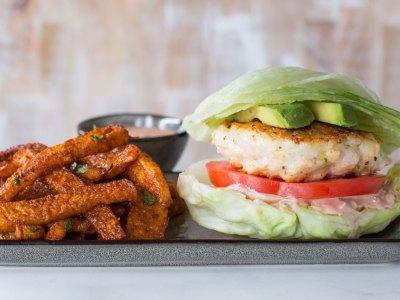 low carb shrimp burger add keto jicama fries