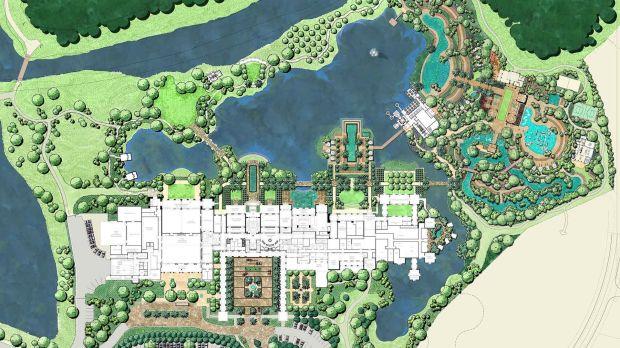 Four Seasons Resort at Walt DIsney World Resort, Master Plan showing hotel, lake and amenity island