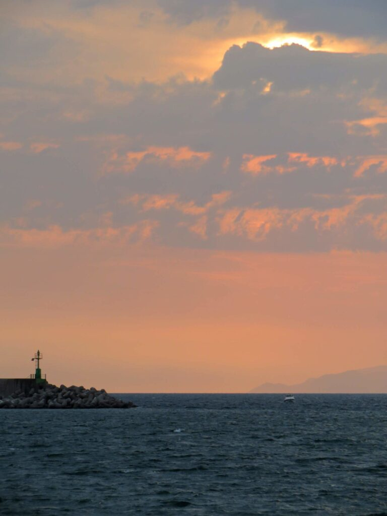 sunset at Castellammare, at the bottom you can see a part of Capri Island