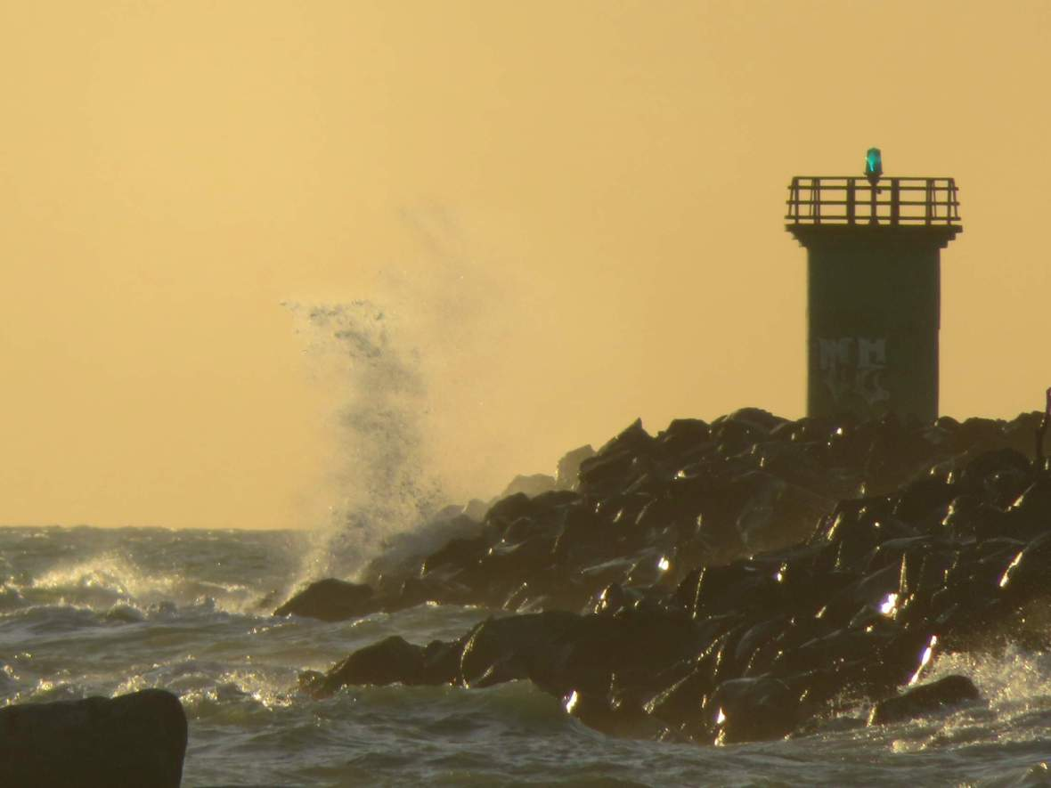 rough sea at the port, close up