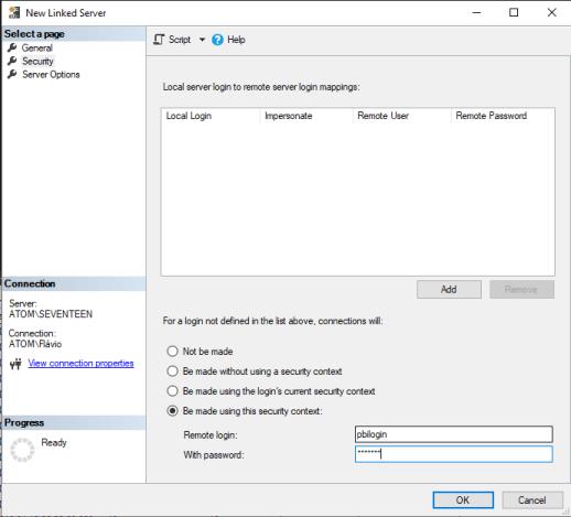 Linked Server Security Tab