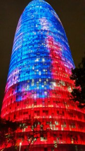 Torre Agbar at night, Barcelona