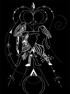 Geometric Gemini - Black and White