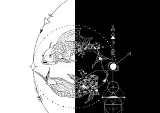 Geometric Pisces - Black and White