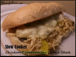 Slow Cooker Chicken Pepperoncini Cheese Steaks