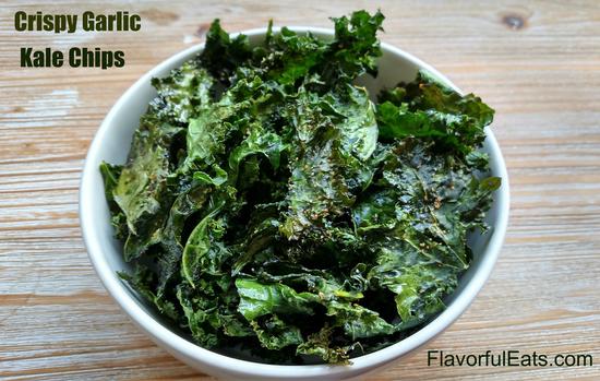 kale chips recipe garlic Crispy Garlic Kale Chips