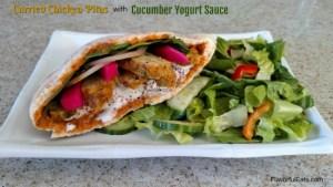 Curried Chicken Pitas with Cucumber Yogurt Sauce