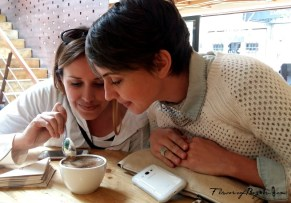 Tasting coffee in Bogota during tour
