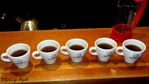 Coffee cupping at Cafe Cultor Bogota
