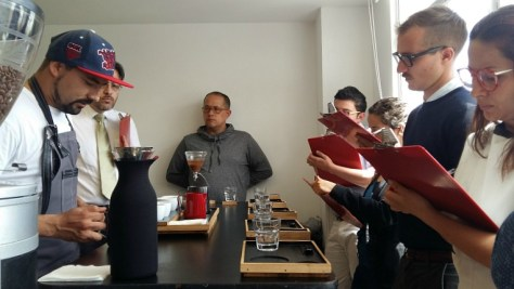 Coffee competition judges in Bogota