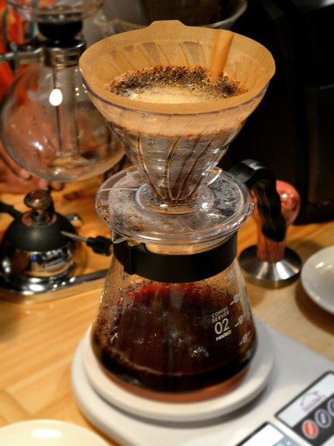 Coffee brewing on the Flavors of Bogota Coffee Shop Tour