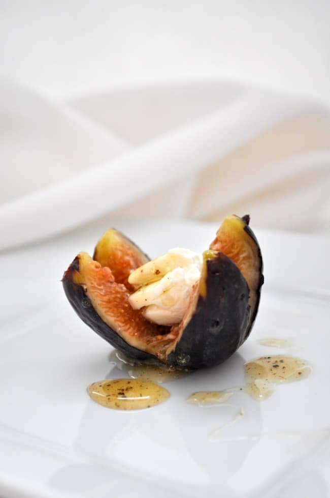 Fresh figs with goat cheese and honey.
