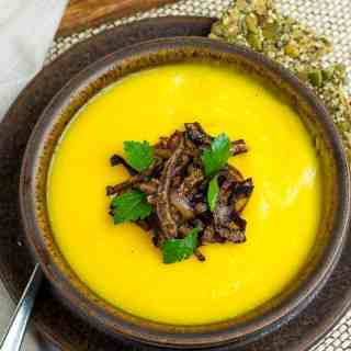Butternut Squash Soup with Ginger and Orange garnished with crispy shallots