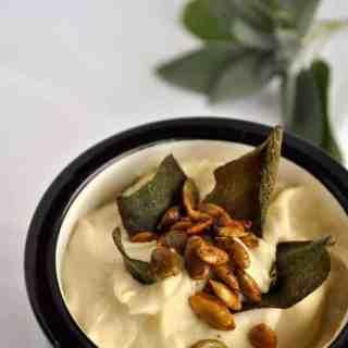 Roasted Cauliflower Soup with Spicy Pumpkin Seeds |www.flavourandsavour.com #harvestsoup #cauliflower #pepitas