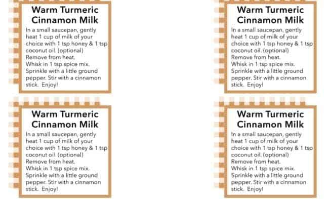 Warm Turmeric Cinnamon Milk gift tags