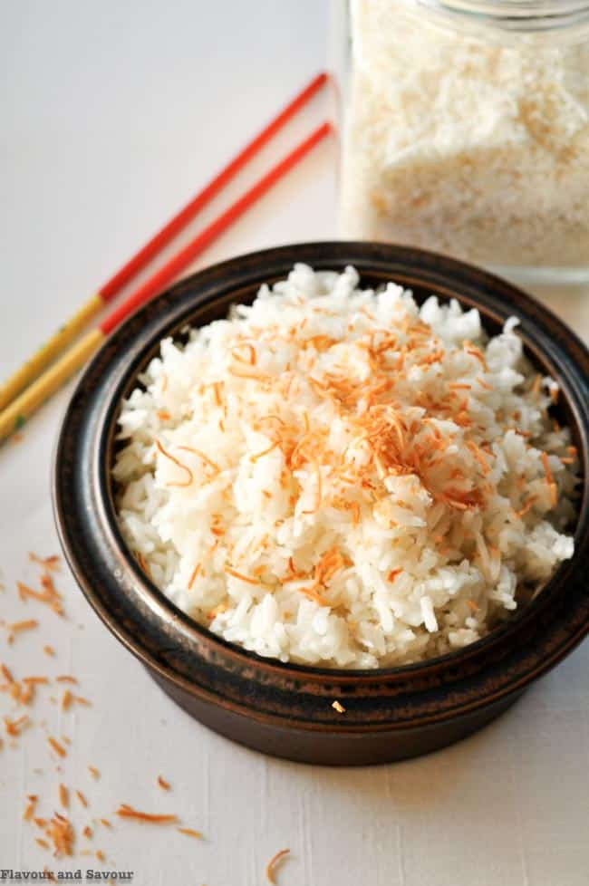 Never Fail Thai Coconut Rice with toasted coconut