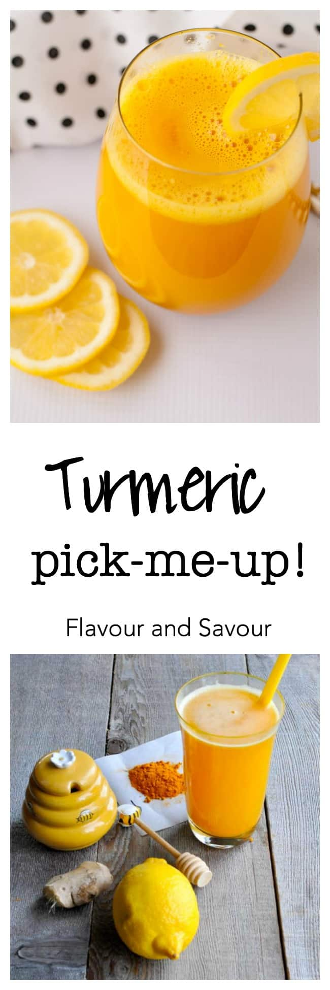 Get the easy recipe for this turmeric, lemon and honey drink that actually tastes delicious! This powerful anti-inflammatory, anti-oxidant Turmeric Pick-Me-up juice also gives you a boost of energy.#turmeric #tonic #lemon #honey #antiinflammatory #antioxidant