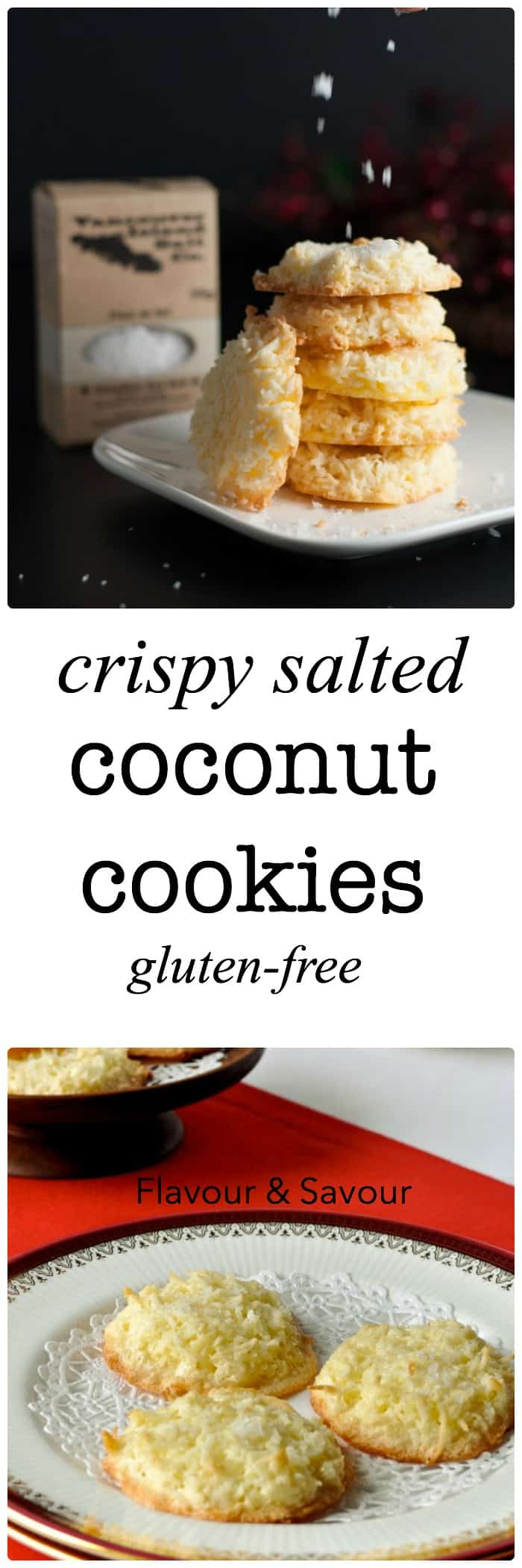 These gluten-free Crispy Salted Coconut Cookies are topped with a light dusting of sea salt. They're the first ones to disappear from the cookie tray! Make ahead and freeze for unexpected company.