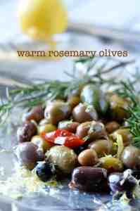Warm Rosemary Olives with Lemon --an easy appy |www.flavourandsavour.com