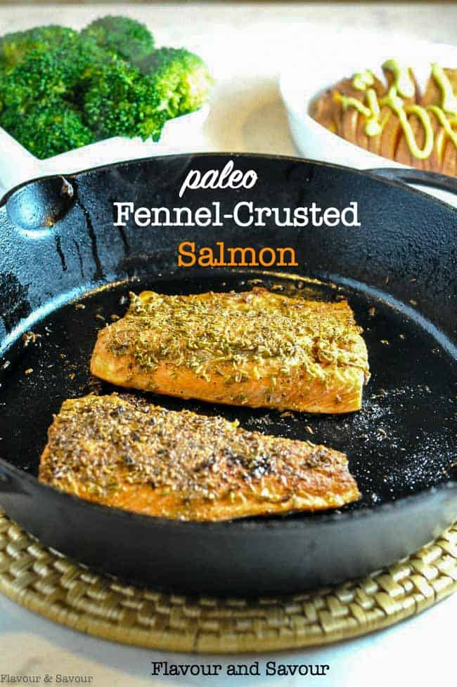 Make this fennel-crusted salmon for a fast but fancy weeknight meal. Fennel and salmon are a match made in heaven! #Paleo and #glutenfree  #salmon #fennel_crusted #30_minutemeal