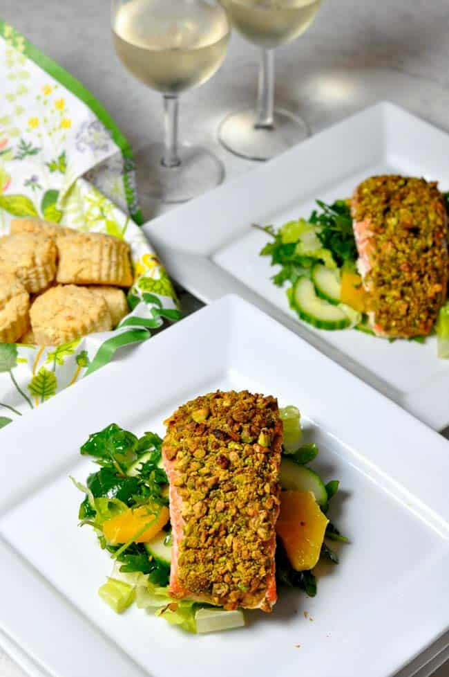 Add a little crunch and colour to your next salmon meal with this healthy, gluten-free recipe for Pistachio-Crusted Salmon. |www.flavourandsavour.com