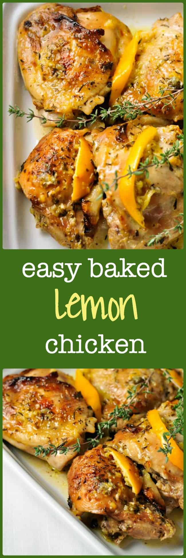 Easy Baked Lemon Chicken. Succulent juicy chicken, baked in the oven. Easiest recipe ever!