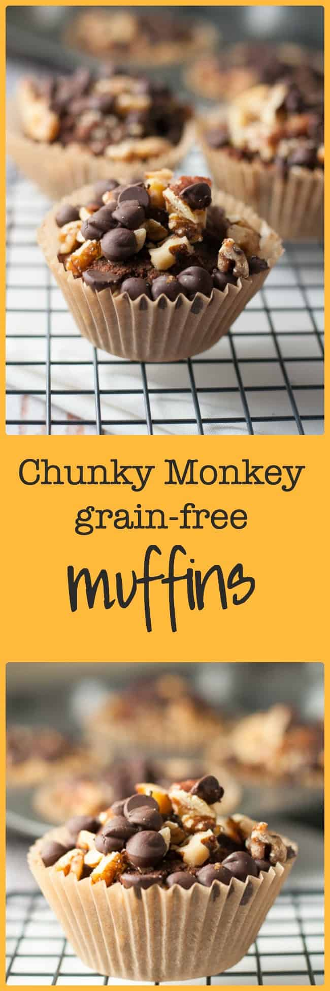 Chunky Monkey Grain-free Muffins. No grains, no dairy. Just a yummy muffin made with bananas, almond butter, dates and cocoa and topped off with walnuts and chocolate chips. All our favourite flavours together in one healthy muffin.