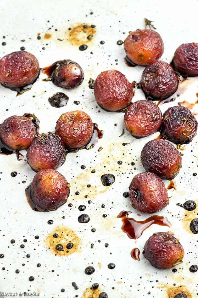 Roasted Grapes on a baking sheet