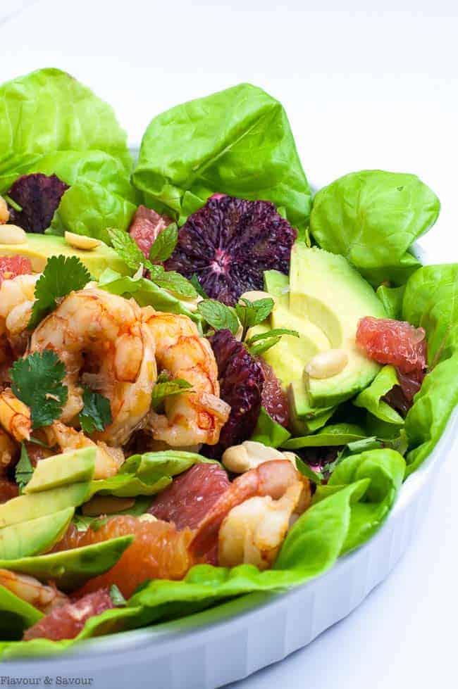 Thai Shrimp Salad with Grapefruit, Avocado and Mint