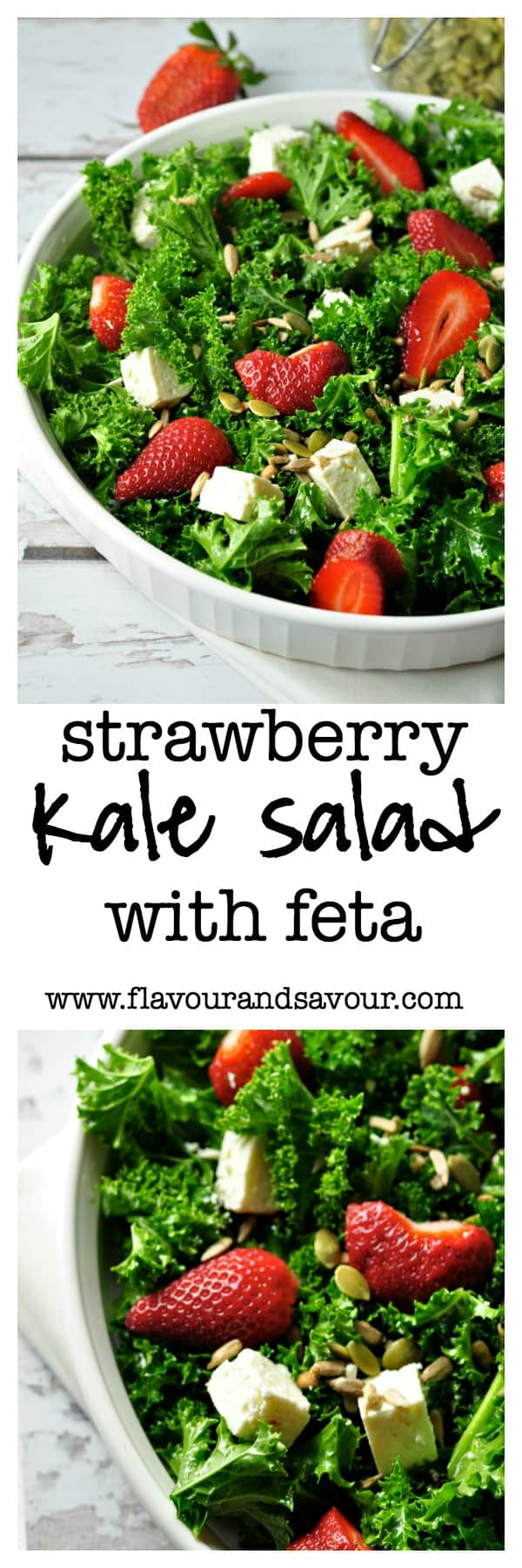 Strawberry Kale Salad with Feta and Poppy Seed Dressing by Flavour and Savour