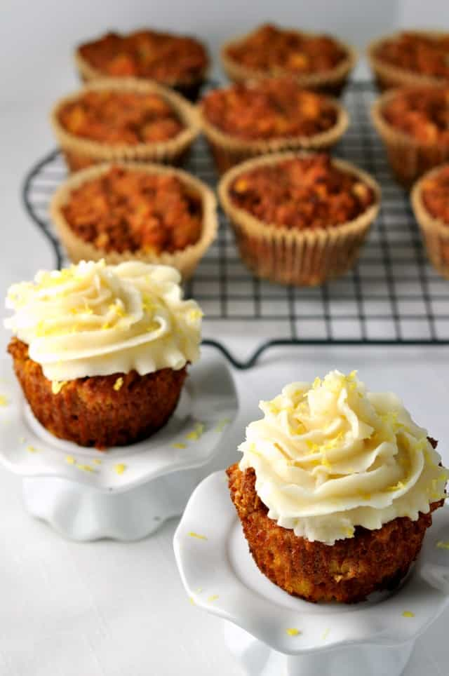 Paleo Carrot Cake Cupcakes. Moist, sweet and tender with no refined sugar or grains. from Flavour and Savour