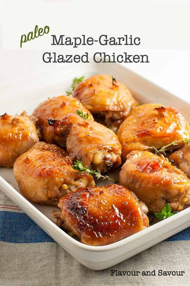 Paleo Maple Garlic Glazed Chicken thighs title