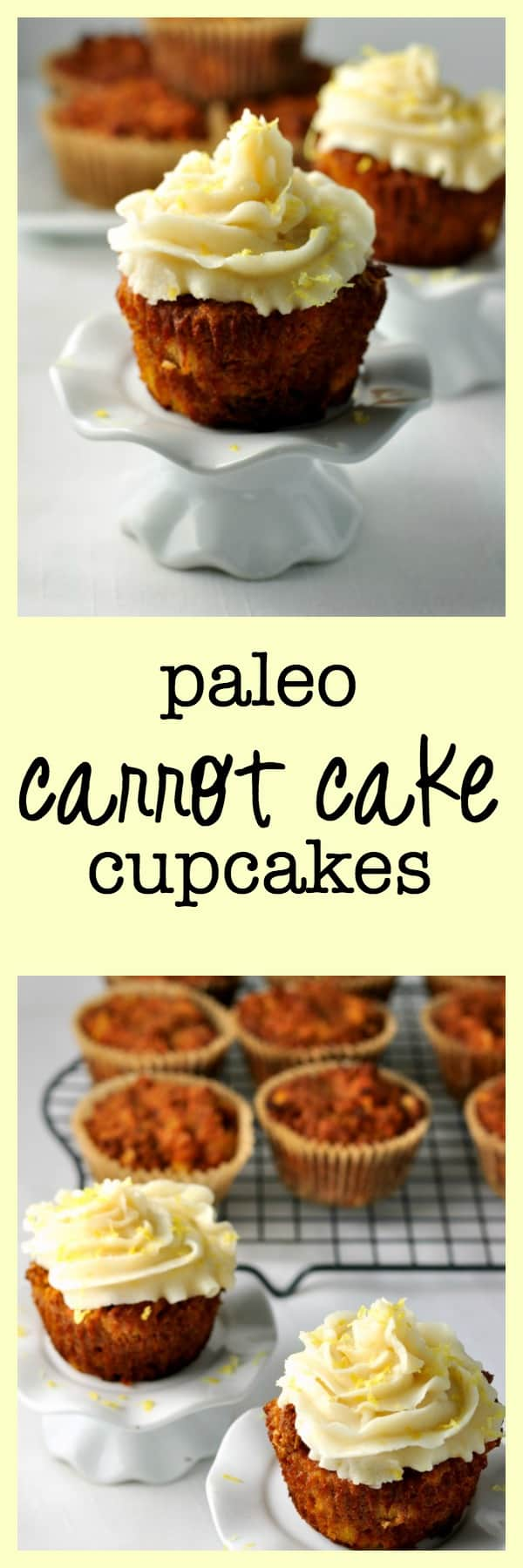 These paleo cupcakes are grain-free, dairy-free and refined sugar free. Seriously good! Just as moist, tender and delicious as a traditional carrot cake!