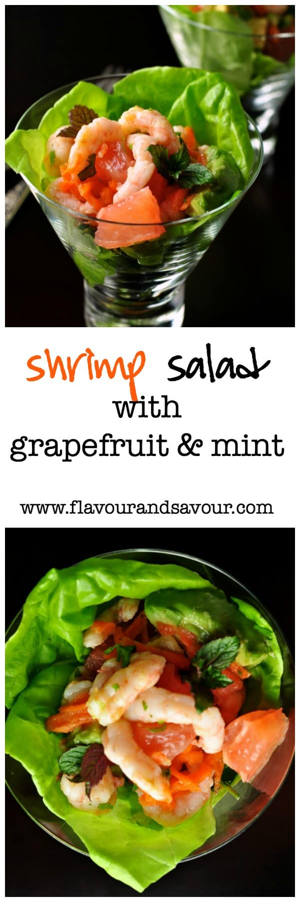 Shrimp Salad with Grapefruit and Mint. Amazing flavours in this fabulous salad! |www.flavourandsavour.com