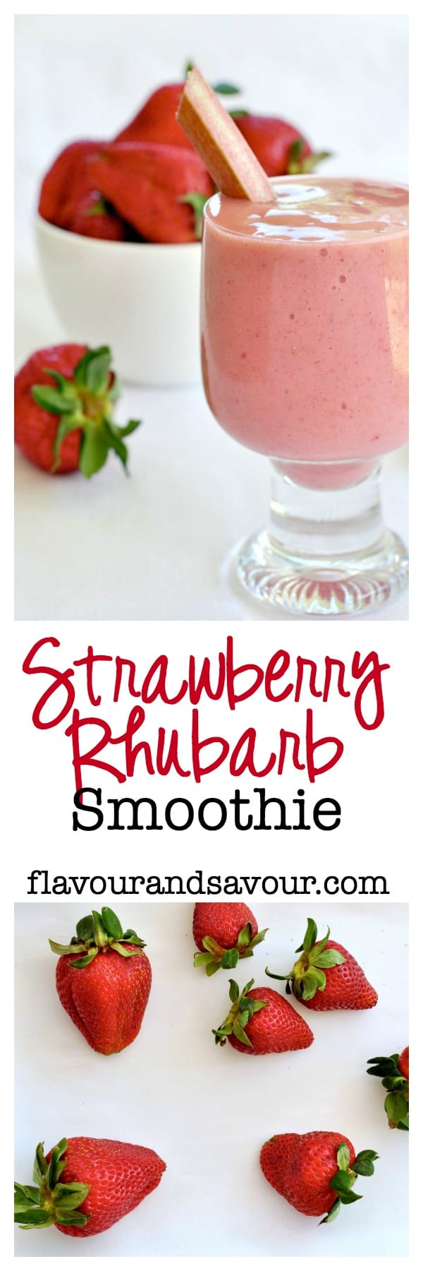 A healthy rhubarb smoothie made with non-dairy milk and chia seeds, naturally sweetened with strawberries and bananas. #strawberryrhubarb #smoothie