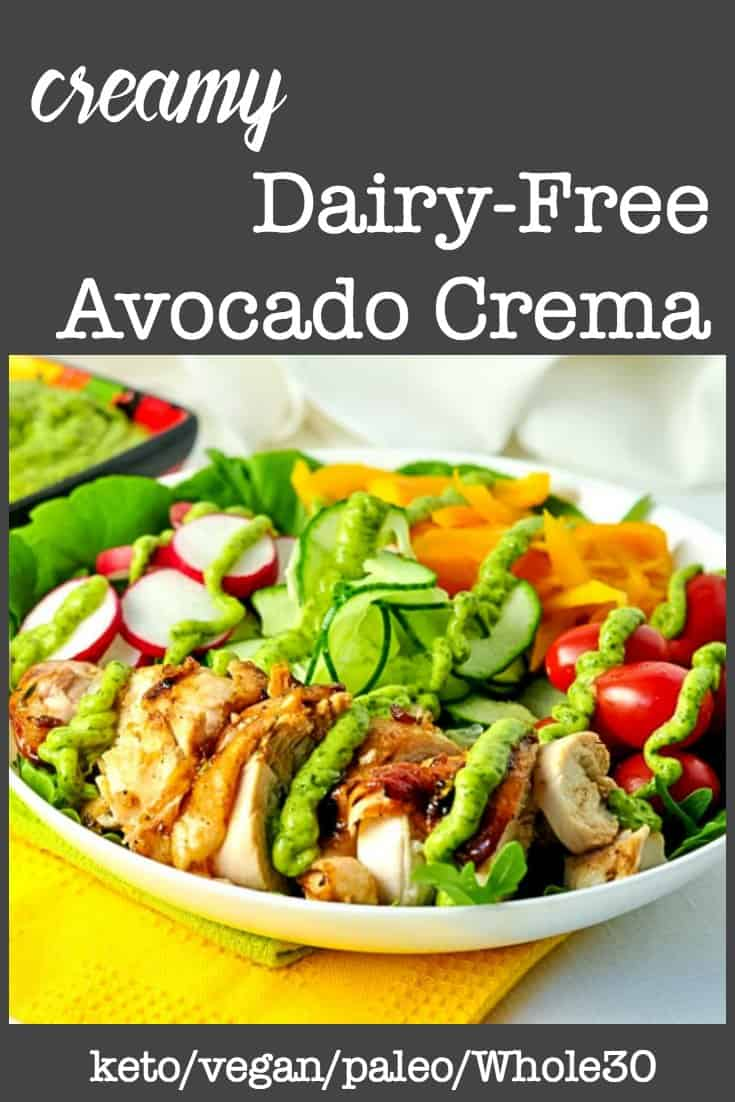 Chicken Salad drizzled with avocado crema pin