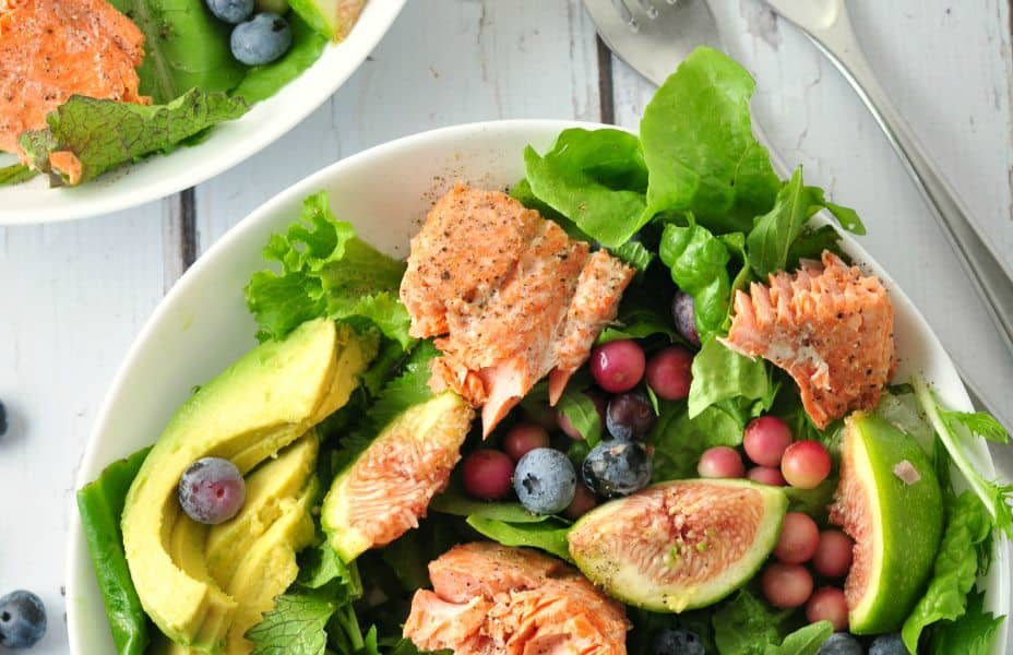 Grilled Salmon Salad with Blueberries and Fresh Figs. A summertime meal in a bowl! from Flavour and Savour
