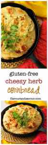 Gluten-free Cheesy Herb Cornbread. Easy to adapt with your favourite herbs and cheese.|www.flavourandsavour.com
