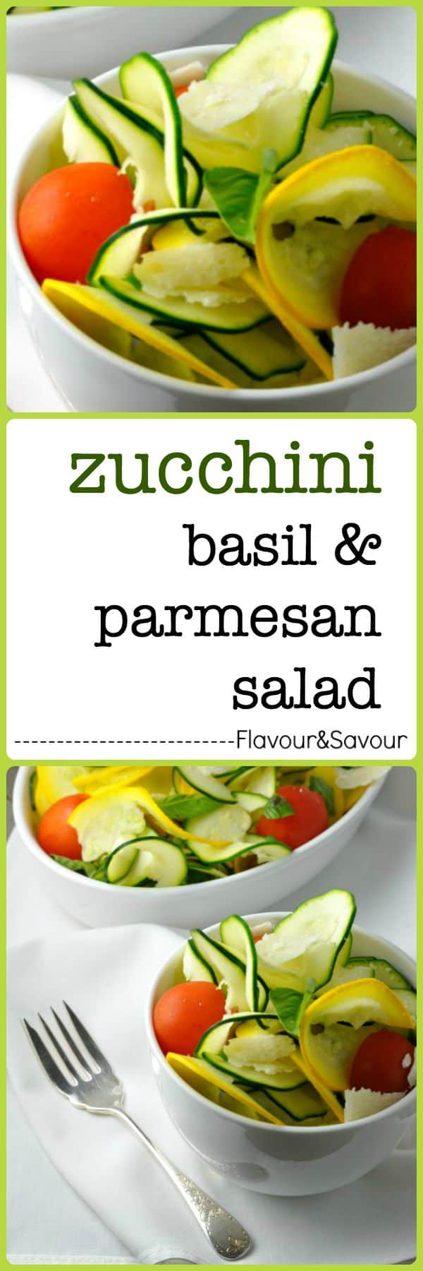 Zucchini Basil and Parmesan Salad. Fresh, healthy, and bursting with flavour. This salad will convert the confirmed zucchini-haters in your family. It's light, raw, crisp and it's different! from Flavour & Savour