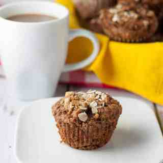 Apple Oatmeal Breakfast Muffins. Gluten-free, dairy-free, but packed with protein and apple chunks.