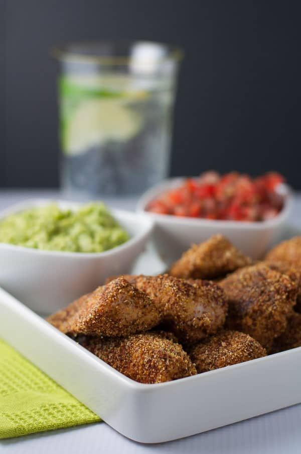 Taco Chicken Strips with Guacamole and Fresh Salsa for dipping from Flavour and Savour