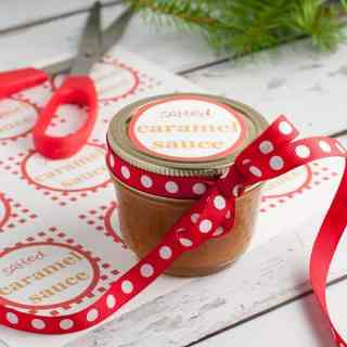 Salted Caramel Sauce Two Ways. Recipes and easy instructions for Classic and Paleo Caramel Sauce. Also includes cute free printable gift tags.