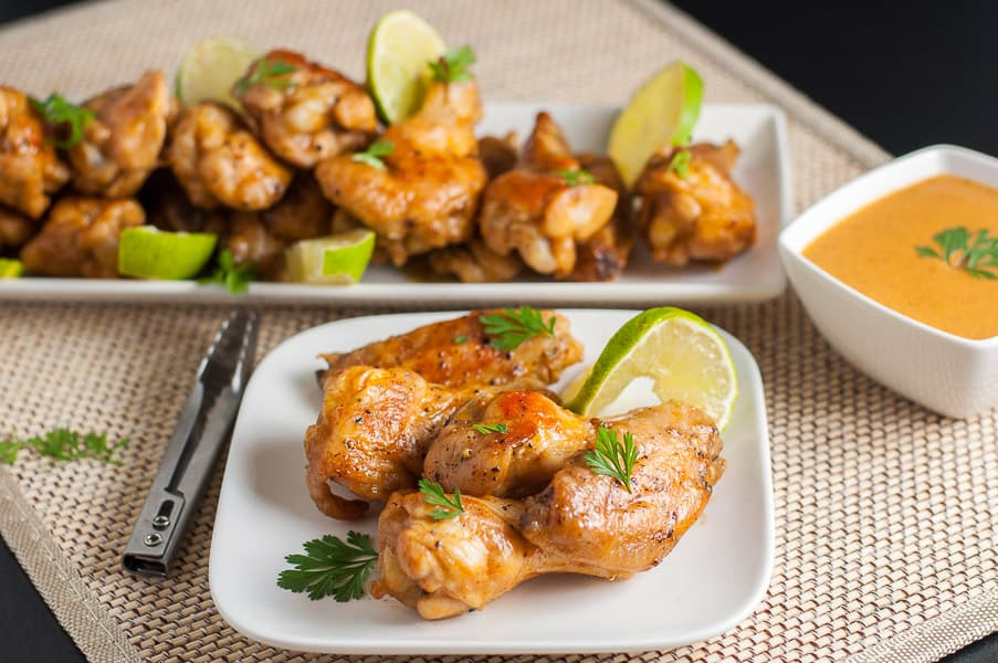 How to Make Spicy Thai Wings. Chicken wings with dipping sauce.